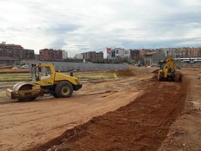 Obras de la primera fase del Parque Central de Valencia
