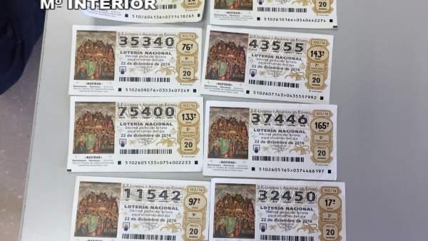 Décimos de lotería robados y recuperados
