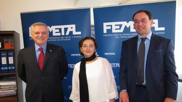 Guillermo Ulacia (Femetal), Mercedes Alvarez (del Grupo Luvecar y Gunther Wolf