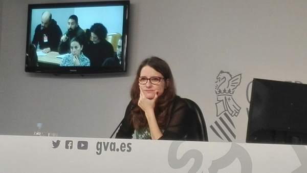 Mónica Oltra en rueda de prensa en imagen de archivo