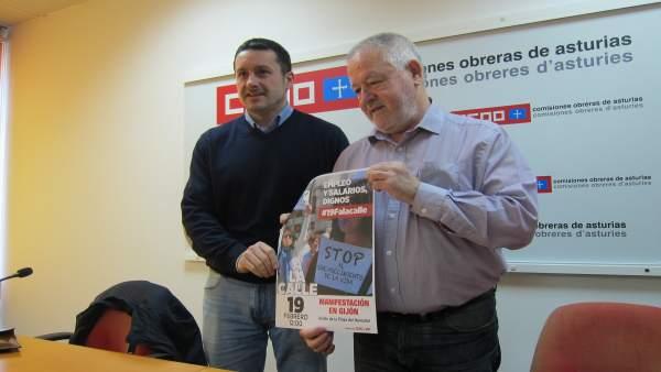 Los secretarios generales de UGT y CCOO Asturias, Javier F Lanero y Antonio Pino