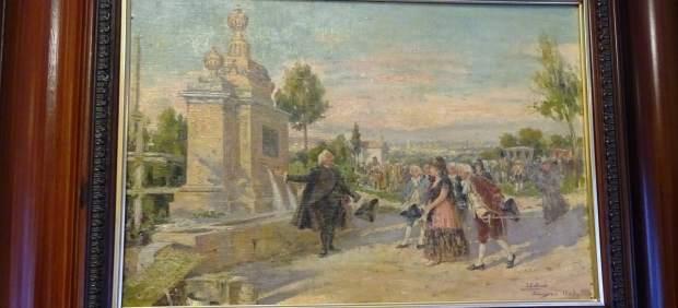 Lienzo cedido por la CHE para esta exposición en el Alma Mater Museum