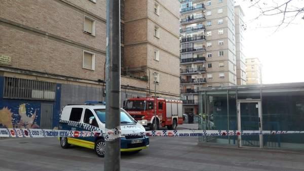 Incendio en un edificio del barrio de San Jorge en Pamplona