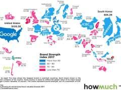 Las marcas más valiosas de cada país, representadas en mapas