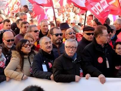 Álvarez y Toxo durante la manifestación sindical