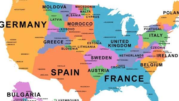 Países Distribuidos En El Mapa De Estados Unidos Según Su Producto - Mapa de usa