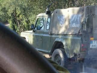 Vehículo militar en las maniobras de Les Gavarres.