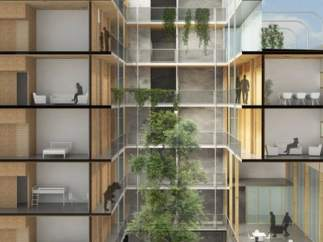 Edificio de madera en Barcelona
