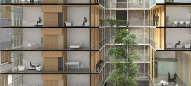 Una cooperativa construye en Barcelona el edificio de madera más alto de España