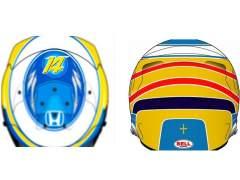 Alonso presenta su nuevo casco para el Mundial de F1