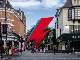 Boceto del Aladdin Sane que homenajería a David Bowie en Brixton