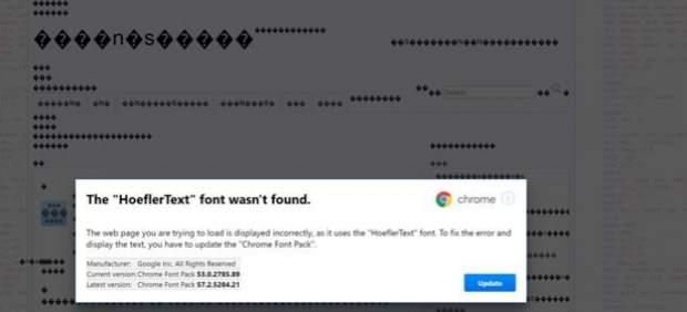 Fuente de letra en Chrome que es un virus