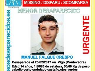 Adolescente desaparecido en Vigo