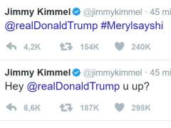 El presentador de la gala de los Oscar, Jimmy Kimmel, tuitea en directo a Trump.