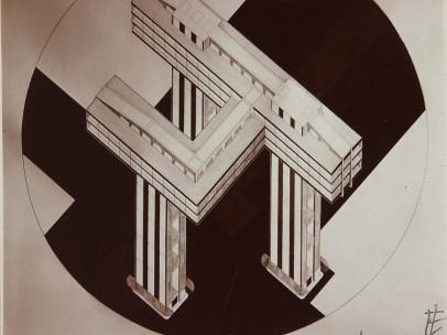 El Lissitzki - Photo by the artist of his design Cloud Iron. Ground Plan