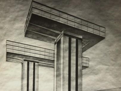 El Lissitzki - Photo by the artist of his design Cloud Iron. Ground Plan. Views from the Kremlin, 1925