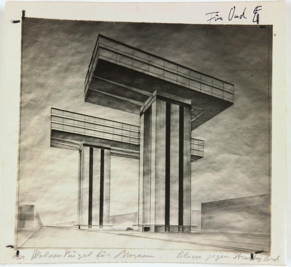 El Lissitzki - Photo by the artist of his design Cloud Iron. Ground Plan. Views from the Kremlin, 1925. Lissitzki proyectó 'Nube de acero' como una microciudad con residencias y oficinas conectadas