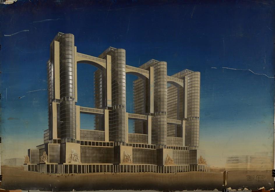 Narkomtiazhprom. Uno de los proyectos enviados al concurso para la construcción de complejo administrativo en la Plaza Roja