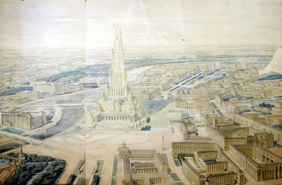 Palace of the Soviets. Visión panorámica del Palacio de los Soviets, que nunca llegó a ser terminado