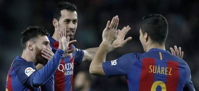 Messi, Suárez y Busquets