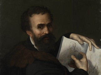 Probably by Sebastiano del Piombo - Portrait of Michelangelo, about 1518-20 (pre-restoration)