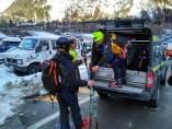 Equipos de rescate en la localidad de Courmayeur