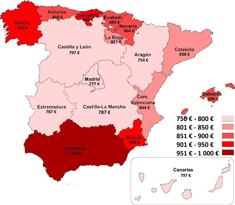 El precio medio de los seguros a terceros por provincias en España