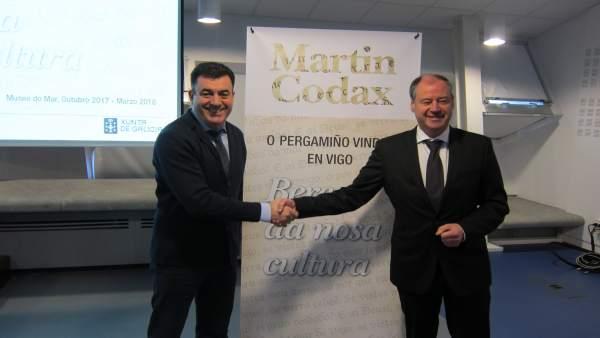 El conselleiro Román Rodríguez y el rector de la UVIgo Salustiano Mato