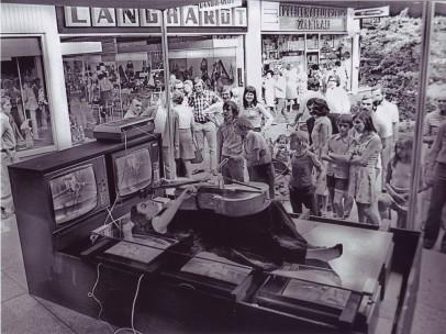 Charlotte Moorman performs Nam June Paik's TV Bed, Bochum Art Week, Bochum, West Germany, August 28–September 3, 1973