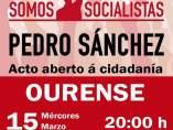 Cartel del acto de Pedro Sánchez en Ourense