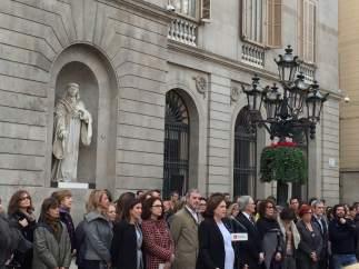 L'alcaldessa de Barcelona, Ada Colau, durant l'acte simbòlic el 8 de març de 2017