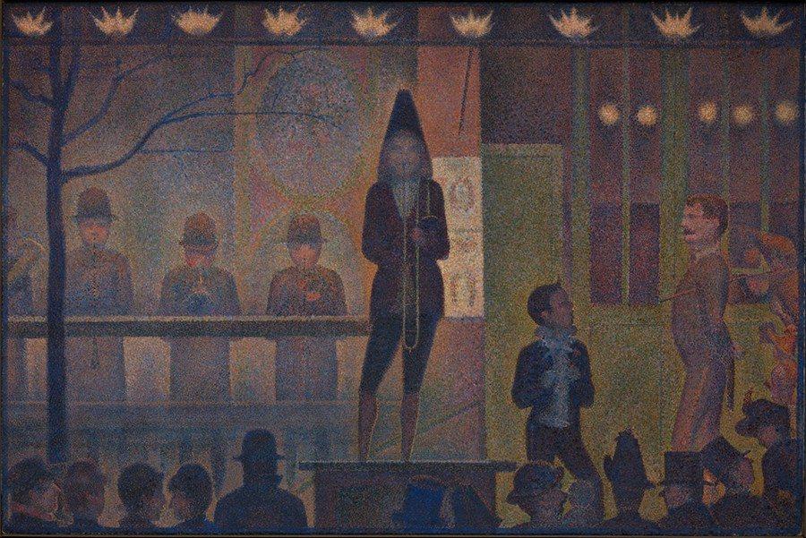 'Circus Sideshow' ('Parade de cirque'), 1887–88. 'Parade de cirque', óleo de Seurat y pieza central de la exposición 'Seurat's Circus Sideshow', en el MET de Nueva York