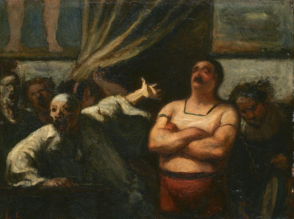 'The Strong Man', ca. 1865. 'El hombre fuerte', óleo del francés Honoré Daumier, revolucionador de la caricatura en la segunda mital del siglo XIX