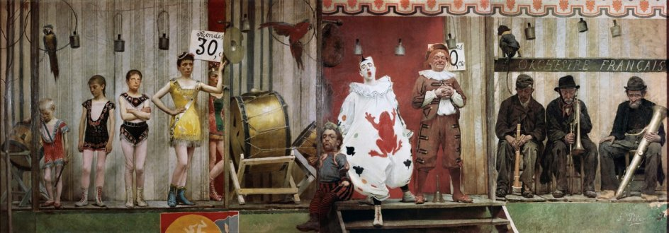 'Grimaces and Misery—The Saltimbanques', 1888. 'Muecas y miseria. Los saltimbanquis' (1888). El artista francés de origen español Fernand Pelez (1843-1913) pinta a la 'troupe' de un circo anunciando su espectáculo en un puesto de feria