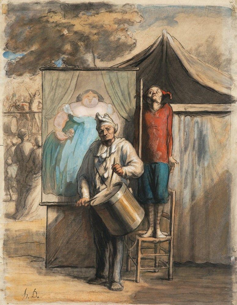'The Sideshow' ('La Parade'), ca. 1865–66. Obra de Honoré Daumier datada entre 1865 y 1866