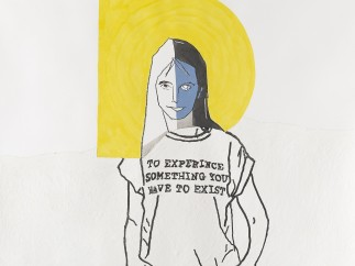 My exquisite corpse by Gillian Wearing with Gary Hume (head), Michael Landy (torso) and Gillian Wearing (legs), 2016