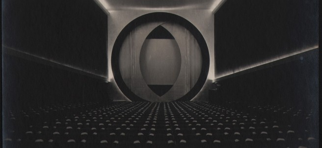 Frederick Kiesler, Film Guild Cinema, view of the flexible film screen Screen-o-scope, New York, 1929