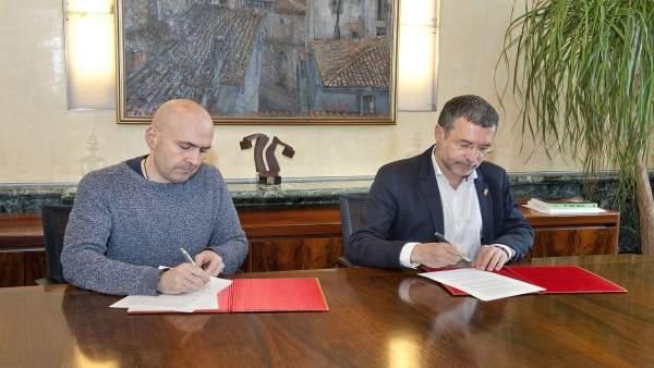 El alcalde de Ansoáin y el vicepresidente Laparra
