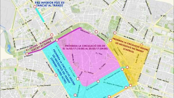 El centre de València quedarà tancat al trànsit per Falles a partir de les 15.00 hores del dijous