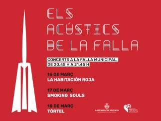 La falla municipal es converteix en escenari i acull tres concerts acústics de grups valencians.