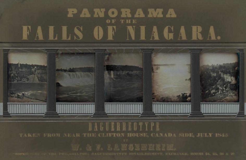'Panorama of the Falls of Niagara', 1845. 'Panorama de las cataratas del Niágara', cinco daguerrotipos de 1845 realizados y montados por los hermanos Langenheim