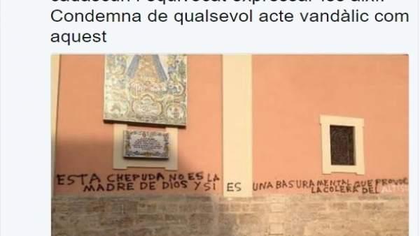 Oltra condemna la pintada contra la 'Geperudeta' apareguda en la Basílica de la Verge