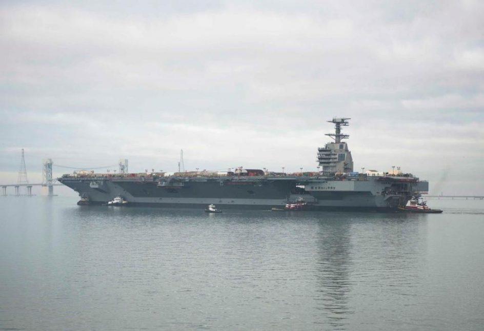 USS Gerald R. Ford. El USS Gerald R. Ford se pondrá en servicio el próximo mes de abril. Mide 337 metros de largo y 76 metros de alto. Esta buque transportará más de 75 aeronaves a velocidades por encima de los 30 nudos (unos 55 km/h).