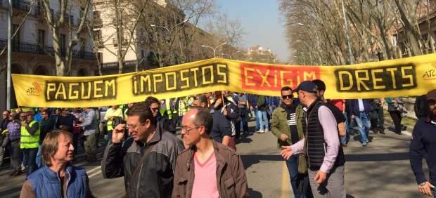 Imagen de la manifestación de taxistas en Barcelona.