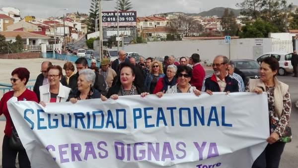 Protesta huerta nueva aceras puerto de la torre málaga para la gente