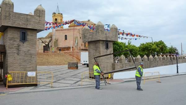 Preparativos para la Feria Medieval de Palos de la Frontera.