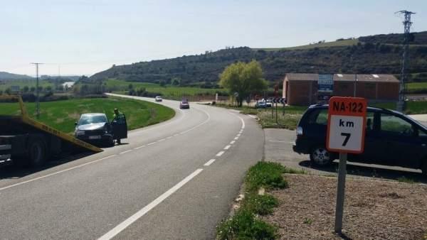 Colisión de dos turismo en el cruce de Morentin