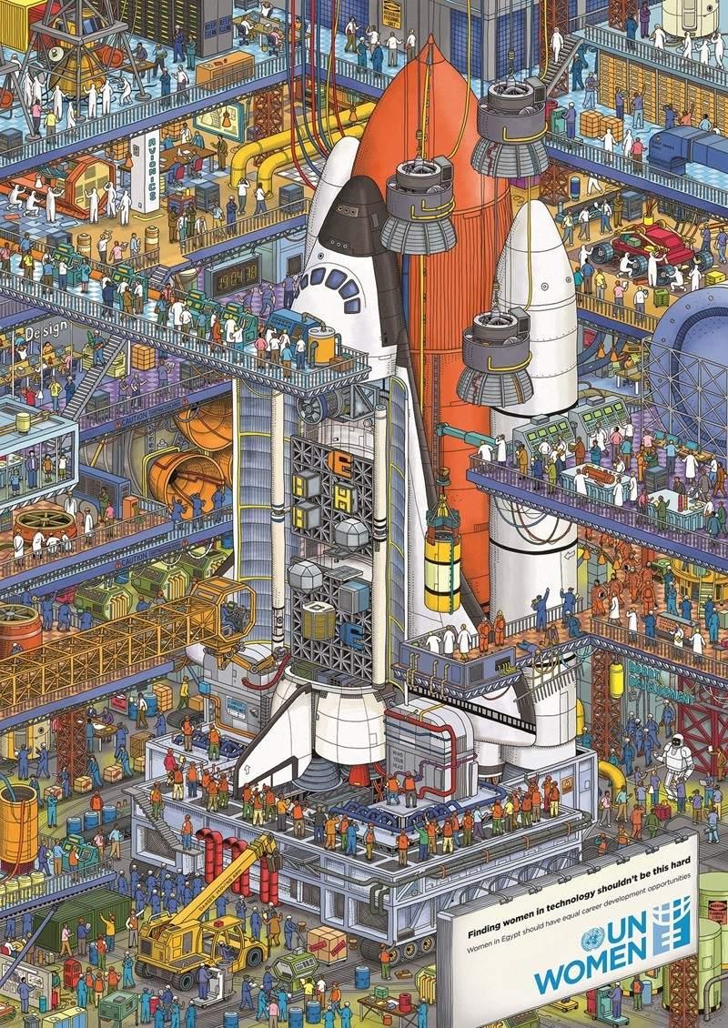 Construyendo una nave espacial. Encuentra a la mujer trabajadora oculta entre todos los hombres que aparecen en la ilustración. Sigue avanzando y encontrarás la solución al final.