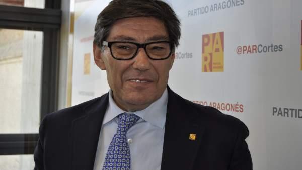 El presidente del PAR, Arturo Aliaga, hoy en las Cortes