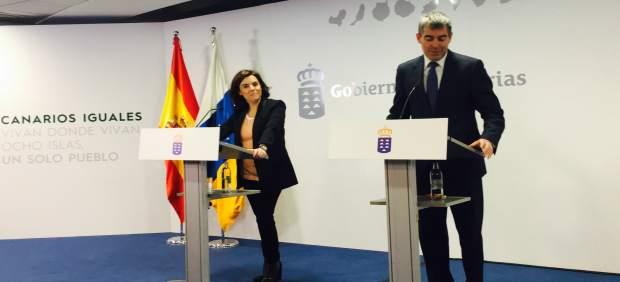 Sáenz de Santamaría y Clavijo en la rueda de prensa posterior a su reunión